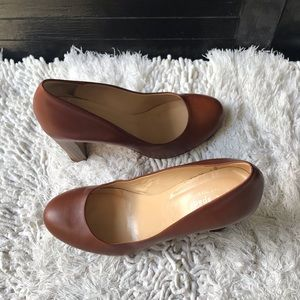 Kate Spade Leather Pumps Heels Tan Size 7B Italy